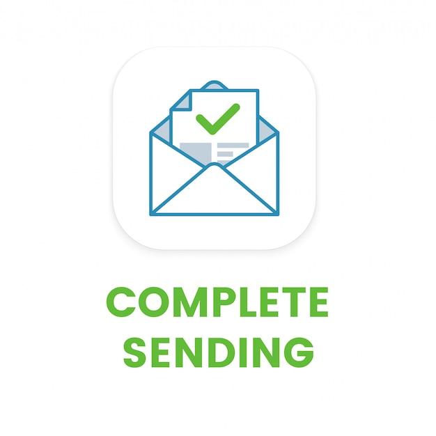 Icône plate d'envoi de courrier électronique complet