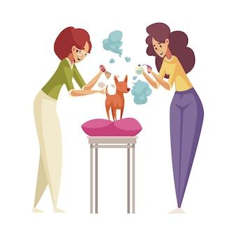 Icône plate de groming avec deux femmes parfumant un petit chien avec du parfum