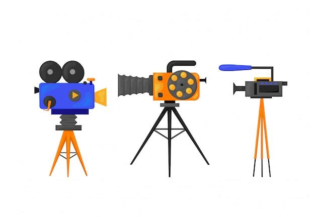Icône plate - illustration de l'icône de caméra vidéo isolé sur blanc