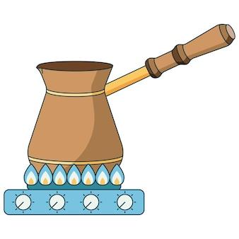 Icône plate illustration de la méthode de préparation du café