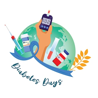 Icône plate de la journée mondiale du diabète