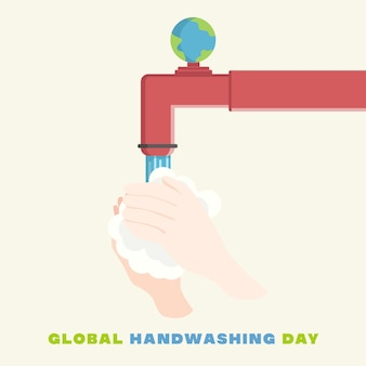 Icône plate de la journée mondiale du lavage des mains