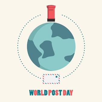 Icône plate de la journée mondiale de la poste