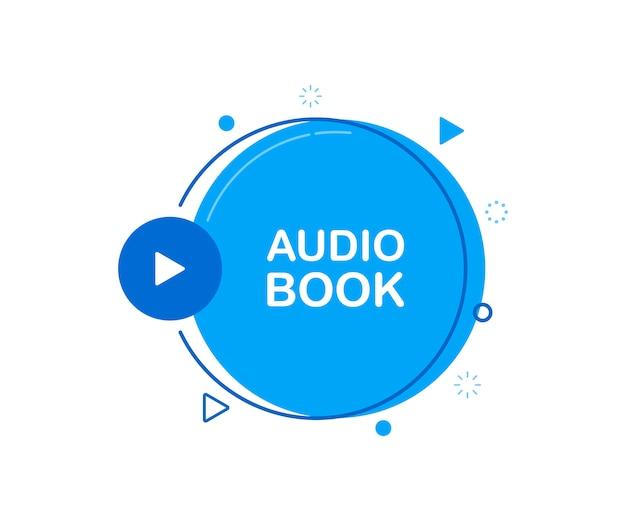Icône plate de livre audio, avec bouton de lecture.