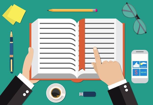 Icône plate de livre avec le concept de personne de lecture de main
