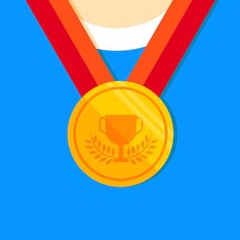Icône plate médaille d'or