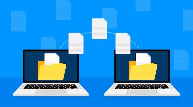 Icône plate moderne avec transfert de fichiers sur blanc