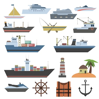 Icône plate de navire