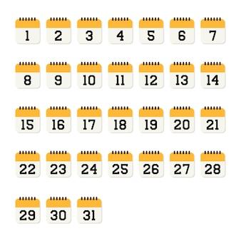 Icône plate numéro de calendrier