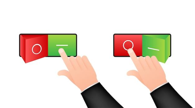 Icône plate on et off format du bouton de l'interrupteur à bascule