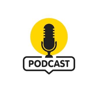 Icône plate de podcast