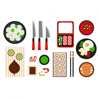 Icône plate de restaurant cuisine asiatique
