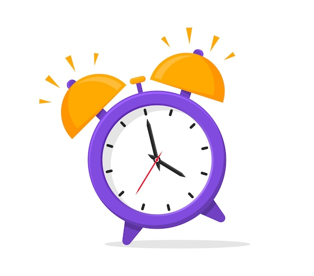 Icône plate de réveil. l'heure du réveil. réveil qui sonne. l'heure du matin. illustration vectorielle.
