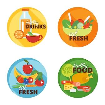 Icône plate de la saine alimentation