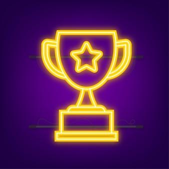 Icône plate de vecteur de coupe de trophée avec la couronne d'étoile et de laurier. icône néon. illustration vectorielle.