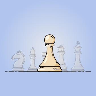 Icône plate de vecteur d'échecs. pion devant