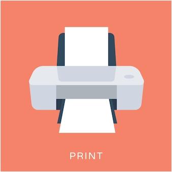 Icône plate de vecteur d'imprimante