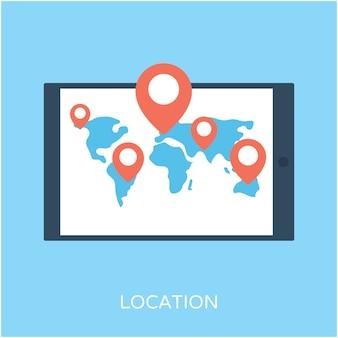 Icône plate de vecteur de localisation
