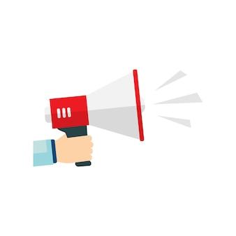 Icône plate vecteur de mégaphone pour le concept de marketing des médias sociaux. vecteur eps10