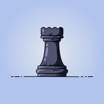 Icône Plate De Vecteur De Tour D'échecs Noir Vecteur Premium