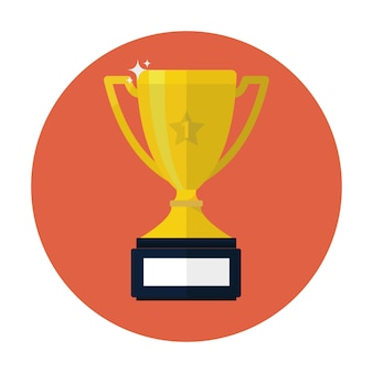 Icône plate vector trophy cup.