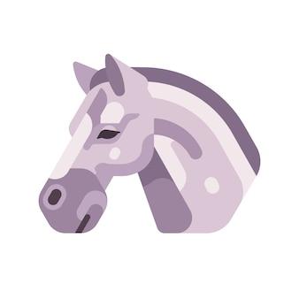 Icône plate vue de côté tête cheval gris clair