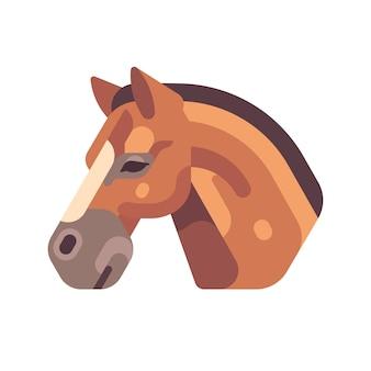 Icône plate vue de tête de cheval brun