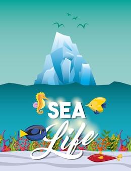 Icône de poisson et d'iceberg de cheval de mer.