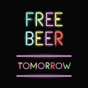 Icône de police bière gratuite au néon