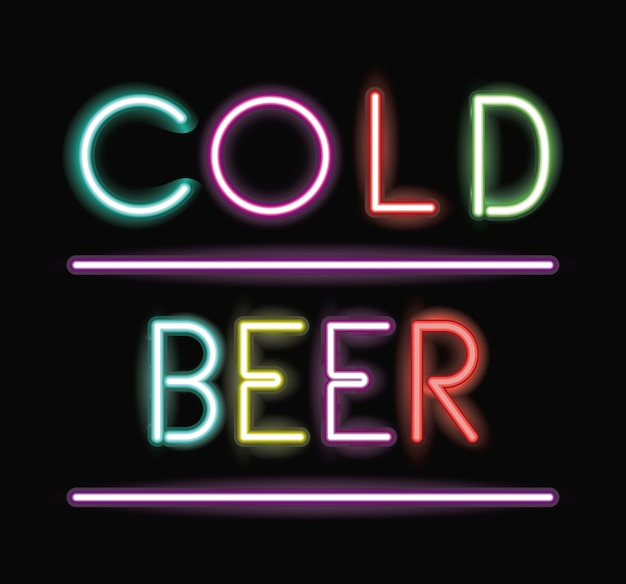 Icône de police froide bière au néon
