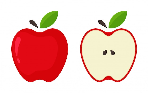 Icône de pomme rouge. vector pommes rouges qui sont divisées en deux par rapport au fond blanc.