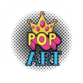 Icône pop art de la couronne d'or