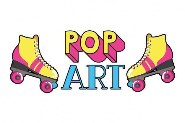 Icône de pop art de patins à roulettes