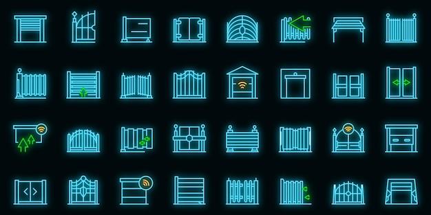 Icône de portail automatique. décrire la couleur néon de l'icône de vecteur de porte automatique sur fond noir