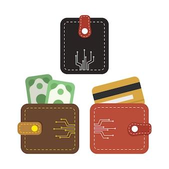 Icône de portefeuille numérique, portefeuille en ligne.