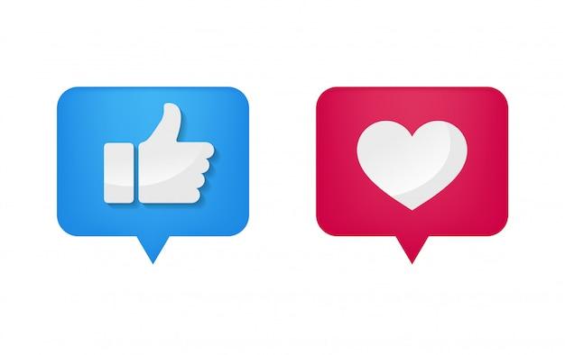 Icône de pouce et forme de coeur sur les médias sociaux