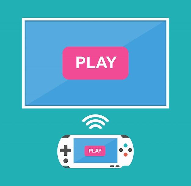 Icône pour jouer sur un joystick sans fil sur le téléviseur.