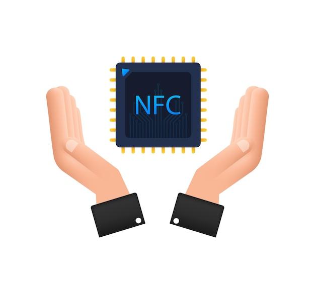 Icône de processeur nfc avec les mains. puce nfc. communication en champ proche. illustration vectorielle de stock.