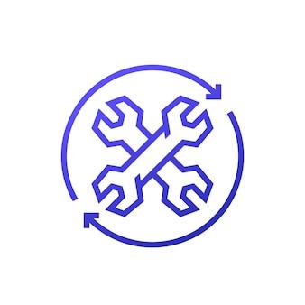 Icône de processus de réparation sur blanc