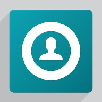 Icône de profil plat, blanc sur fond vert