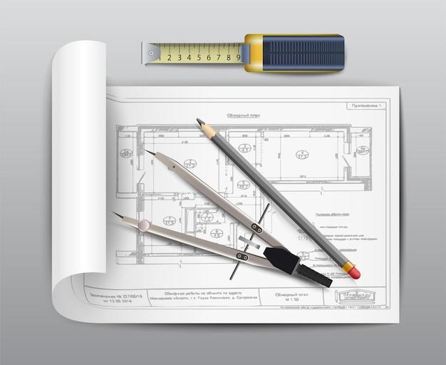 Icône de projet de conception de vecteur avec un crayon et une règle d'outil de mesure de rouleau de papier