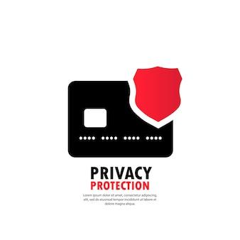 Icône de protection de la vie privée. icône bancaire de badge de sécurité. puce électromagnétique de protection de carte de débit. confidentialité virement électronique de fonds. vecteur sur fond blanc isolé. eps 10.