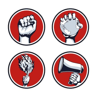 Icône de protestation de révolution à quatre mains