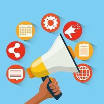 Icône de la publicité et du marketing numériques