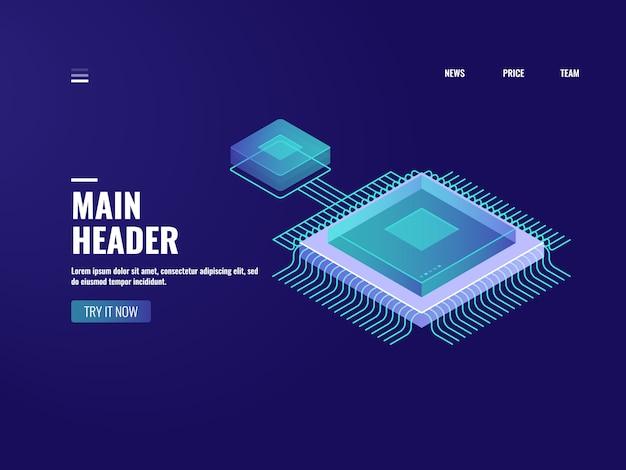 Icône de puce microélectronique, processus informatique, salle des serveurs, stockage en nuage