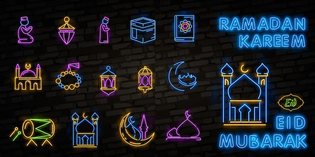 Icône de ramadan kareem définie néon.