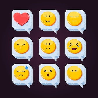 Icône de réactions de réseau social emoji mignon