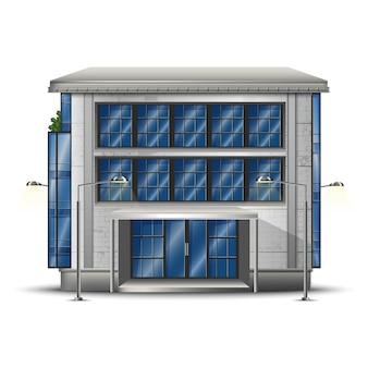Icône réaliste du bâtiment moderne.