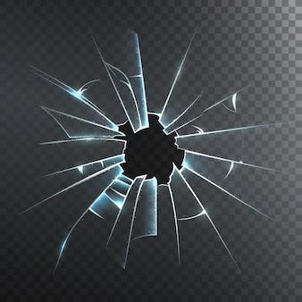 Icône réaliste de verre brisé givré