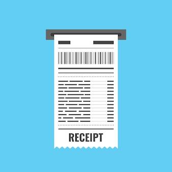 Icône de réception. signe de facture. modèle de facture atm ou chèque financier papier de restaurant